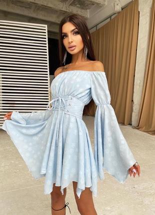 Платье голубое шифоновое шифон софт с поясом расклешенными рукавами