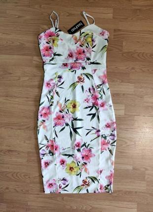 Платье сарафан на брителях в цветы