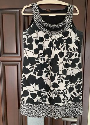 Платье хлопок  белое с чёрным promod германия