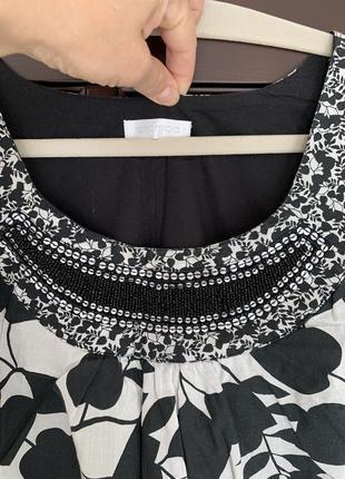 Платье хлопок  белое с чёрным promod германия2 фото