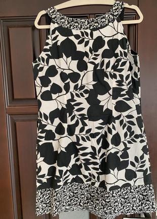 Платье хлопок  белое с чёрным promod германия4 фото