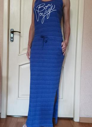 Длинное синее платье, сарафан, с разрезом