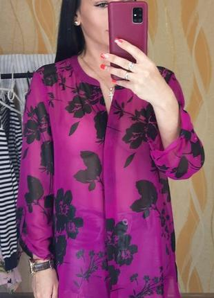Яркая, легкая рубашка, принт цветы, papaya, размер 16, s, m, l