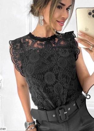 Блузка летняя без рукавов гипюр