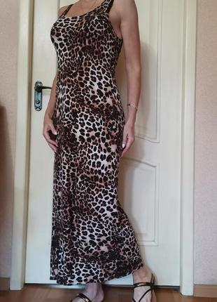 Длинное платье, леопардовый принт