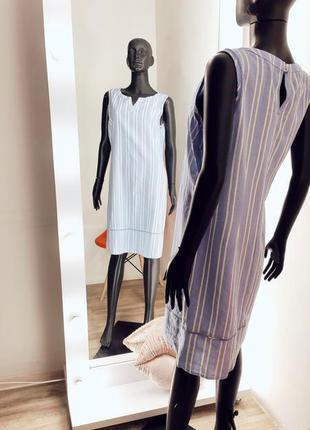 Льняное  платье сарафан в полоску с перфорацией 💙