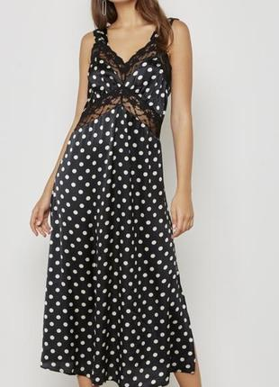 Коктельне плаття в горошок з кружевом top shop розмір хс-с🔥