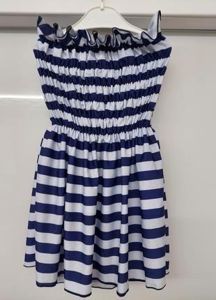 Стильное платье морячка, грудь и талия на резиночке по этому подойдёт на любой возраст.