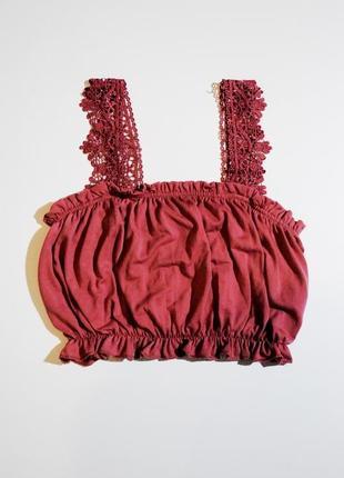 Топ xs  s футболка женский ажурный розовый нежный и звискозы пышный шикарный  германия
