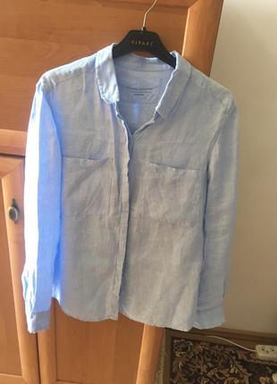 Идеальная голубая,льняная  рубашка marks&spenser