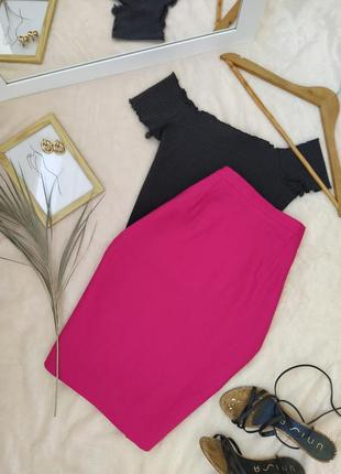 Яркая льняная розовая прямая юбка maxi librati