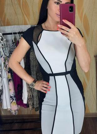Платье бандажное, платье по фигуре, черно-белое платье river island, размер 34-36