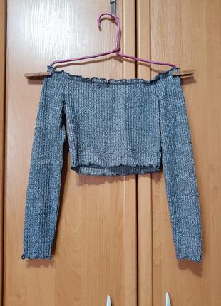 Лёгкий укороченный свитерок в рубчик открытые плечи, серая кофта - топ, свитер-топик