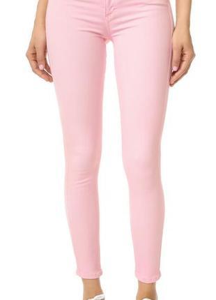 Нежно розовые скинни, джинсы, стрейчевые джинсы, брюки, штаны
