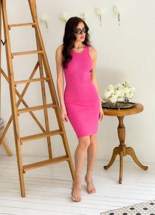 Малиновое платье миди в рубчик хлопок трикотаж