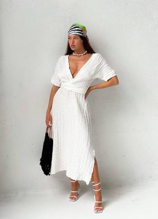 Платье миди с разрезами из жатого хлопка