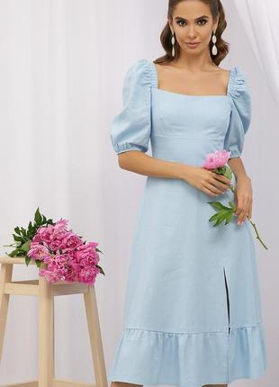 Льняное голубое платье миди- супер качество