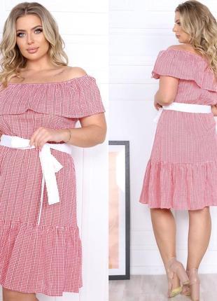 Платье женское батал короткое без рукава летнее с открытыми плечами
