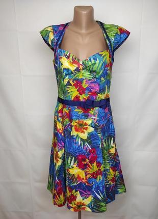 Платье оригинальное шикарное в принт на подкладке karen millen uk 12/40/m
