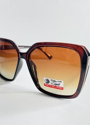 Очки солнцезащитные с поляризацией коричневые квадратные