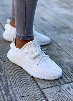 Стильные женские легкие кроссовки кеды adidas yeezy 350 белые демисезонные текстильные
