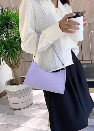 Сумка сумочка винтаж багет винтажная ретро летняя яркая сиреневая клатч