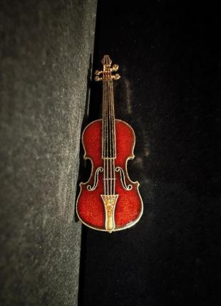 Винтажная брошь скрипка эмаль эмалевая металл future primitive