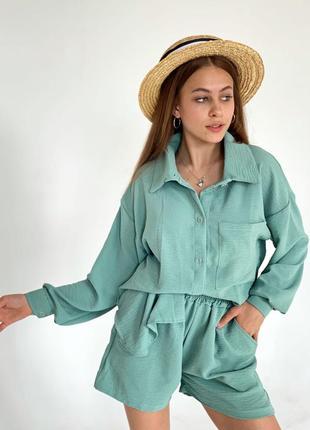 Женский летний костюм двойка рубашка и шорты