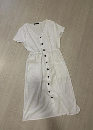 Платье рубашка сарафан льняной белый