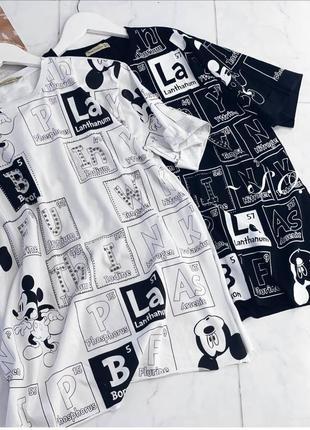 Женская футболка-туника с мики маусом со стразами