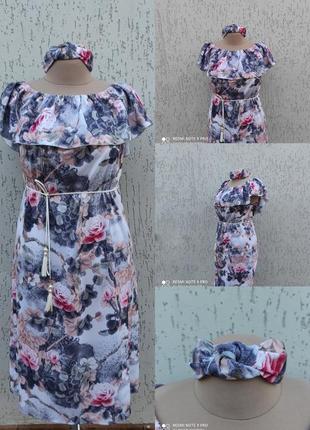 Летнее платье легкий сарафан для беременных фемели лук для мамы и дочки