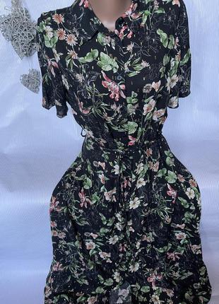 Шикарное легкое  платье на пуговицах в пол