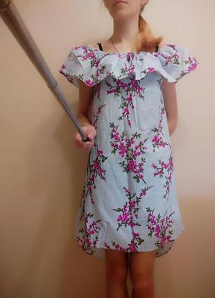 Летнее платье с открытыми плечами 👗