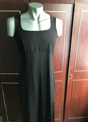 Черное платье в пол , ткань- тактель. размер 48-50