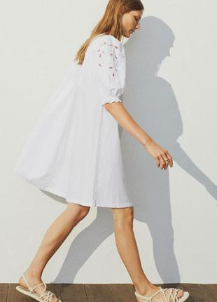 Пышное белое платье из хлопка с прошвой, натуральное платье с вышивкой бохо 2021 h&m