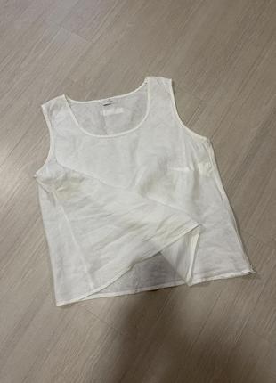 Блуза рубашка майка льняная белая