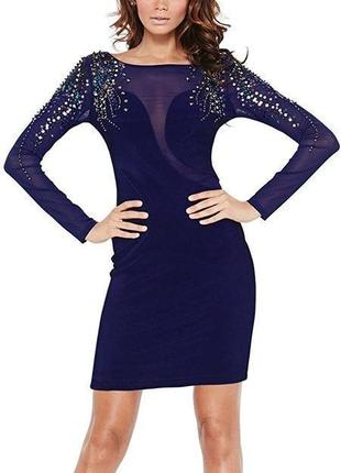 Lipsy платье синее с сеточкой с пайетками с длинным рукавом