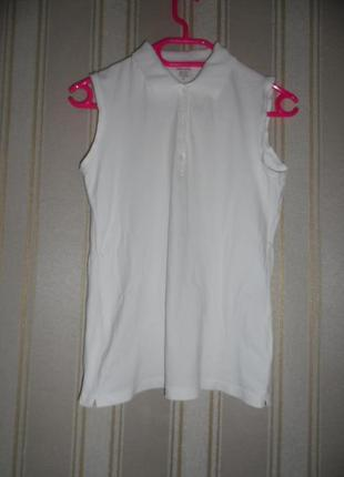 Белое женское поло без рукавов размер 36// s  хлопок 95%