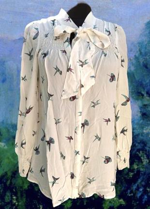 Блуза шёлк в принт птиц