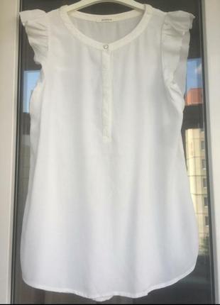 Вискоза белая блуза с коротким рукавом