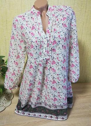 Легкая хлопковая блуза свободного кроя