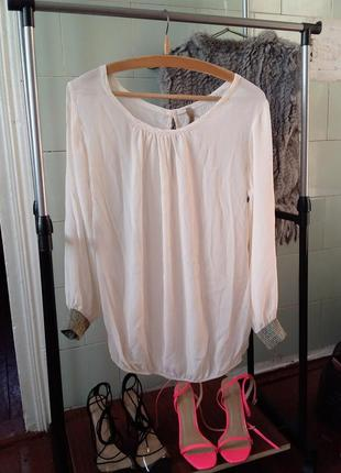 Очаровательная винтажная свободная блуза с манжетами шелк вискоза
