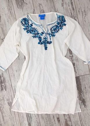 Шикарная блуза туника с чудесной сине-голубой вышивкой