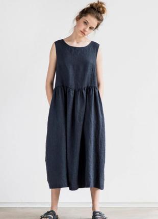 Платье 100% лен. льняное платье. платье оверсайз