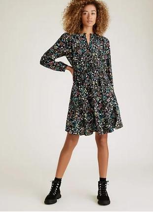 Актуальное  ярусное платье/платье  свободного кроя цветочный принт