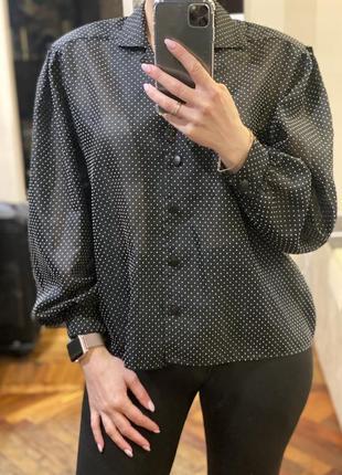 Блузка с принтом в горошек винтажная шифоновая легкая летняя блуза с объемными рукавами кофточка