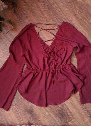 Топ бордовый missguided кофта с открытой спиной и вырезом