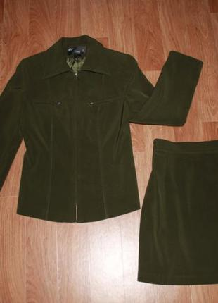 Школьная форма юбка пиджак 9-11 класс зеленая хаки