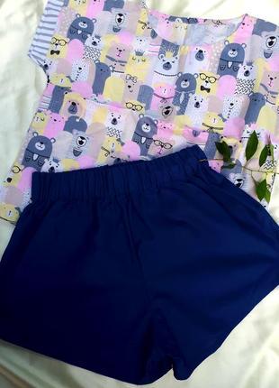 Пижама с шортами, комплект для дома и отдыха