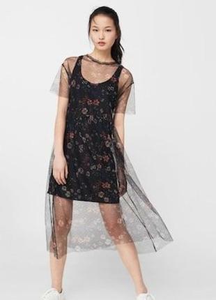 Платье миди сетка в мелкий цветочек